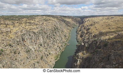 Aerial view over canyon - Arribes del Duero in Zamora, Spain...