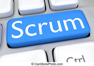 Scrum concept - Render illustration of computer keyboard...
