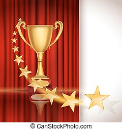 Golden sports cup on red curtain background with stars. vector illustration