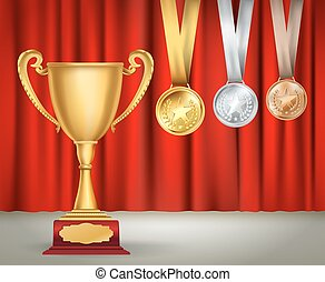 golden trophy cup and set of medals with ribbons on red curtain background. Sports competition awards collection. Vector design template