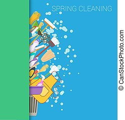 Spring cleaning vertical border background Set of cleaning...