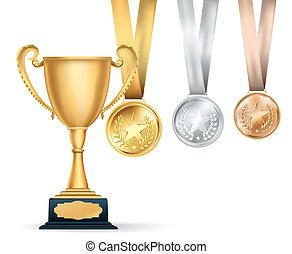 Golden trophy cup and set of medals with ribbons on white background. Sports competition awards composition. Vector design template