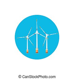 Wind Turbines Icon, Colorful Round Icon Horizontal Axis Wind...