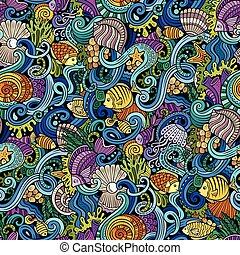 Cartoon doodles under water life seamless pattern - Cartoon...