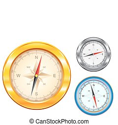 Golden_compass - Isolated golden and silver compass