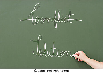 solution rather than conflict, written in a blackboard