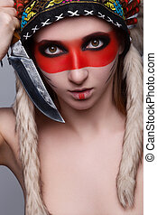 Girl red Indian - Beautiful girl in a military headdress