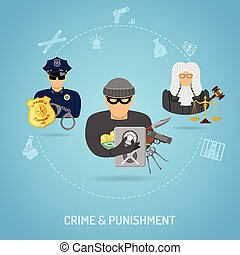 Crime and Punishment Concept in Flat style icons such as...