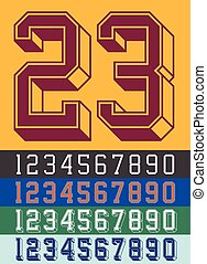 Vintage Jersey font numbers - Vector illustration of vintage...
