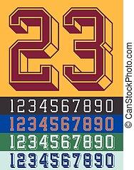 Vintage Jersey font numbers - Vector illustration of vintage...