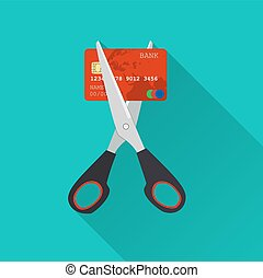 Red credit card cutting by the scissors. Illustration...