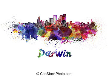 Darwin skyline in watercolor splatters with clipping path