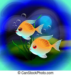 fishes in colour background