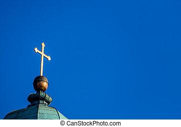 cross on a church steeple - cross on a church tower, a...