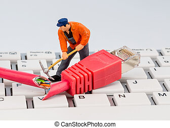 workers, network connector, keyboard, symbol photo for...