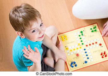 piso, Sentado, juego, tabla, niño, juego