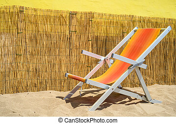 deckchair - colorful deckchair in an italian beach