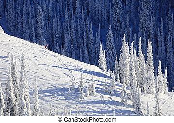 Esquiador, en, nieve, cubierto, Ladera