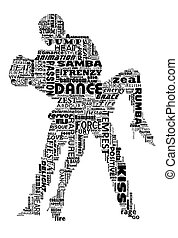 Dance words - Illustration of silhouetted dance partners...