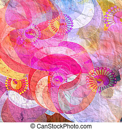 abstract background with floral elements - watercolor...