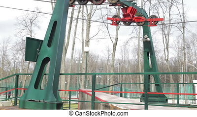 Cableway in the park - cableway in the park  in spring