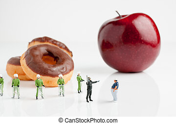 Eat an Apple Instead - Tiny riot police telling a fat man to...