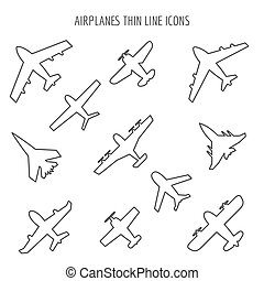 Airplanes thin line icons. Plane black outline images on...