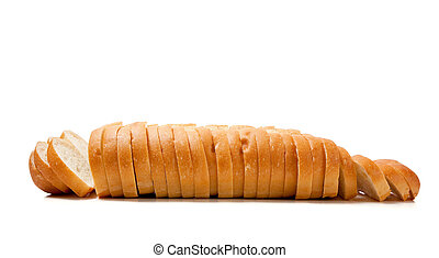 Sliced baked french bread on white