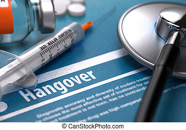 Hangover Medical Concept on Blue Background - Hangover -...
