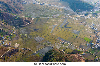 Aerial view of fields near Pokhara