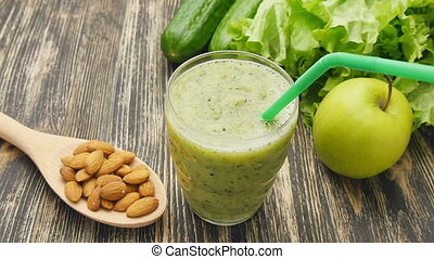 Healthy green smoothie with kiwi, apple - Healthy green...