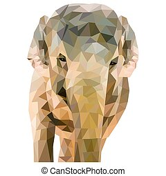 Elephant formed of triangles on a white background in a...