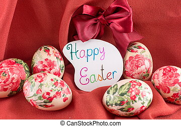 Happy Easter card with decorated Easter eggs - Happy Easter...