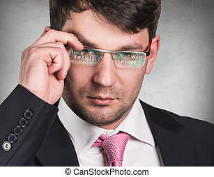 Businessman working with a futuristic glasses.