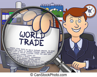 World Trade through Magnifying Glass. Doodle Concept.