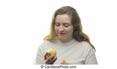 Fatty woman eating pear, first video from the series