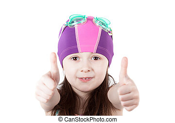 child girl in pool swimming cap isolated on white background