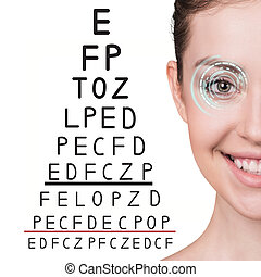 Man with glasses on eyesight test