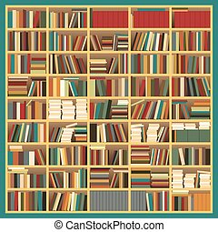 Big Bookshelf - Vector Illustration of a Big Untidy Colorful...