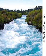 Looking Upstream at the Waikato River in the narrow canyon...