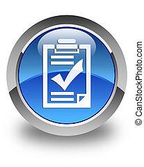 azul, Lista de verificação, botão, lustroso, redondo, ícone