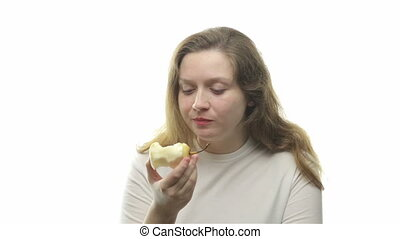 Fatty woman eating pear, sixth video from the series