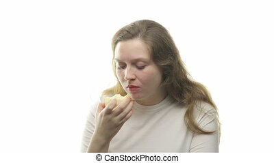 Fatty woman eating pear, ninth video from the series