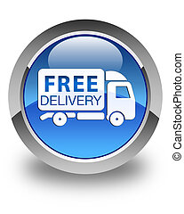 Free delivery truck icon glossy blue round button