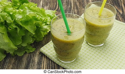 Healthy green smoothie with kiwi and apple - Healthy green...