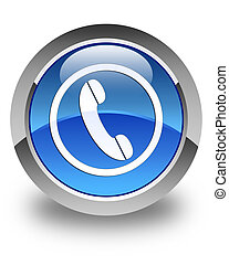 Phone icon glossy blue round button