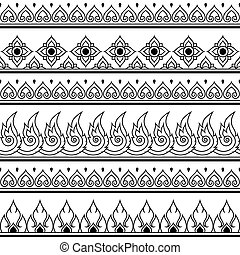 Seamless Thai pattern, design - Vector black and white Thai...