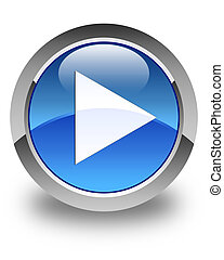 Play icon glossy blue round button