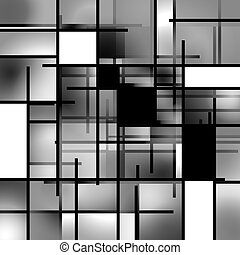 Rectangular Background Composition - Black and White...