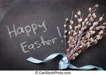 Blackboard with Happy Easter text